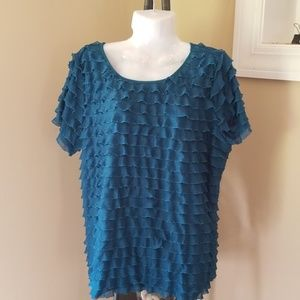 Ladies Blue Green Frilly Top